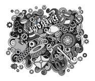 Illustrazione automatica disegnata a mano di servizio di scarabocchi svegli del fumetto Immagine Stock Libera da Diritti