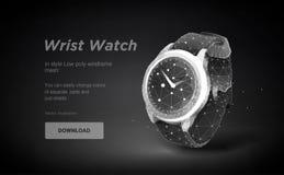 Illustrazione bassa di arte dell'orologio poli Orologio astuto isolato su fondo nero oncept per l'insegna o il manifesto Spazio p illustrazione di stock