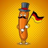 Illustrazione bavarese di vettore di Pop art della salsiccia Fotografia Stock Libera da Diritti