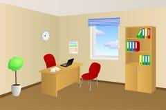 Illustrazione beige della finestra del gabinetto della sedia di tavola della stanza dell'ufficio Fotografie Stock