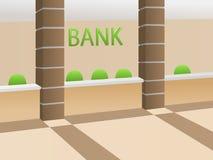 Illustrazione beige della sedia di verde di ricezione della stanza interna della banca Fotografia Stock Libera da Diritti