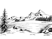 Illustrazione bianca del paesaggio del nero di arte grafica del lago mountain Fotografia Stock
