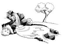 Illustrazione bianca del paesaggio del nero di arte grafica della cascata di fonte Fotografie Stock