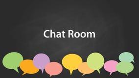 Illustrazione bianca del testo del chat room con i callouts vuoti colourful ed il fondo nero illustrazione vettoriale
