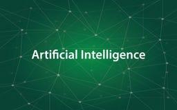 Illustrazione bianca del tetx di intelligenza artificiale con la mappa verde della costellazione come fondo royalty illustrazione gratis