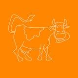 Illustrazione bianca di vettore del fumetto dell'animale da allevamento divertente della mucca per il libro da colorare Immagini Stock Libere da Diritti