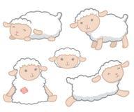 Illustrazione bianca di vettore dell'insieme di elementi di progettazione delle pecore del bambino di piccolo stile sveglio di Ka Fotografia Stock Libera da Diritti