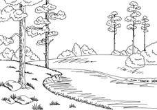 Illustrazione bianca nera grafica di schizzo del paesaggio del fiume della foresta Fotografia Stock Libera da Diritti