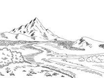 Illustrazione bianca nera grafica di schizzo del paesaggio del fiume della montagna Fotografia Stock Libera da Diritti