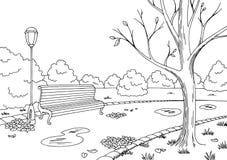 Illustrazione bianca nera grafica di schizzo del paesaggio del parco di autunno Fotografie Stock Libere da Diritti