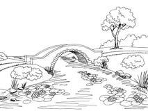 Illustrazione bianca nera grafica di schizzo del paesaggio del ponte Fotografia Stock Libera da Diritti