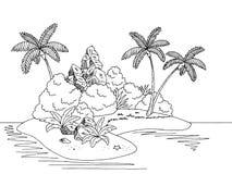 Illustrazione bianca nera grafica di schizzo del paesaggio dell'isola Immagini Stock