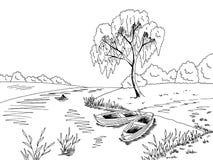 Illustrazione bianca nera grafica di schizzo del paesaggio della barca di fiume Fotografie Stock