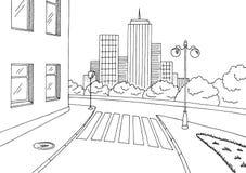 Illustrazione bianca nera grafica di schizzo del paesaggio della città della strada della via Fotografia Stock