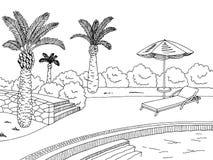 Illustrazione bianca nera grafica di schizzo del paesaggio della piscina Fotografie Stock