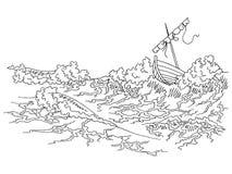 Illustrazione bianca nera grafica di schizzo della barca di mare della tempesta Immagine Stock Libera da Diritti