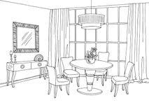 Illustrazione bianca nera grafica di schizzo della sala da pranzo Immagini Stock Libere da Diritti