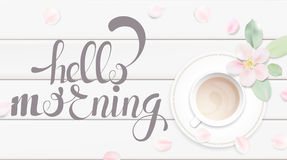 Illustrazione bianca pastello di vettore del fondo di mattina con la tazza di caffè Immagini Stock