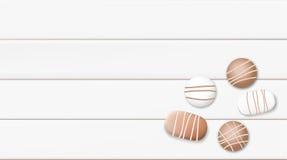 Illustrazione bianca pastello di vettore del fondo di mattina con la tazza ed il cioccolato di caffè Immagine Stock