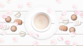 Illustrazione bianca pastello di vettore del fondo di mattina con la tazza ed il cioccolato di caffè Immagini Stock Libere da Diritti