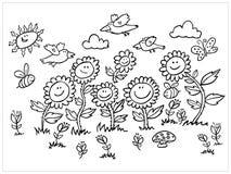 Illustrazione in bianco e nero dei girasoli, degli uccelli e delle api del fumetto di vettore Adatto a cartoline d'auguri o a col illustrazione di stock