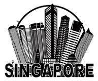 Illustrazione in bianco e nero del cerchio dell'orizzonte della città di Singapore Immagini Stock Libere da Diritti