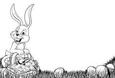 Illustrazione in bianco e nero del coniglietto di pasqua Immagini Stock