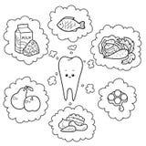 Illustrazione in bianco e nero del fumetto Buon alimento per i denti illustrazione di stock