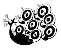 Illustrazione in bianco e nero del pavone mirata a grafico divertente Immagini Stock