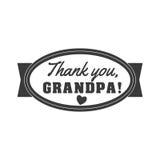 Illustrazione in bianco e nero del segno del nonno di vettore Grazie, nonno - mandi un sms a per il regalo Le congratulazioni ide Fotografia Stock