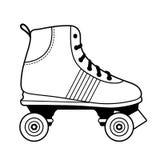 Illustrazione in bianco e nero della scarpa di pattinaggio a rotelle Fotografia Stock Libera da Diritti