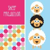 Illustrazione in bianco e nero delle pecore Immagini Stock
