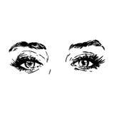 Illustrazione in bianco e nero di modo con l'occhio Fotografia Stock Libera da Diritti