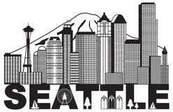 Illustrazione in bianco e nero di vettore dell'orizzonte e del testo della città di Seattle illustrazione vettoriale