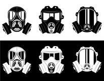 Illustrazione in bianco e nero di vettore della maschera antigas delle icone Fotografie Stock Libere da Diritti