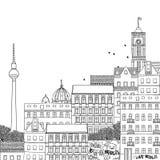 Illustrazione in bianco e nero disegnata a mano di Berlino Fotografia Stock