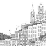 Illustrazione in bianco e nero disegnata a mano di Dublino Immagini Stock