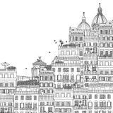 Illustrazione in bianco e nero disegnata a mano di Roma Immagini Stock