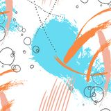 Illustrazione blu del colpo della spazzola arancio di colore Elementi dell'estratto di lerciume di vettore Elementi creativi dell illustrazione di stock