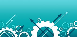 Illustrazione blu del fondo dello spazio della copia - ingranaggi & frecce/ingegneria, tecnologia, affare/successo & progresso illustrazione di stock