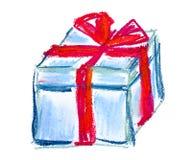 Illustrazione blu del pastello del contenitore di regalo Fotografia Stock Libera da Diritti
