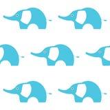 Illustrazione blu dell'elefante Reticolo senza giunte Stile semplice dei bambini Illustrazione EPS10 di vettore Immagini Stock Libere da Diritti