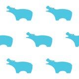 Illustrazione blu dell'ippopotamo Reticolo senza giunte Stile semplice dei bambini Illustrazione EPS10 di vettore Fotografia Stock