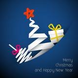 Illustrazione blu della cartolina di Natale di vettore semplice Fotografia Stock