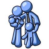 Illustrazione blu della famiglia dell'uomo Immagini Stock