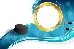 Illustrazione blu della struttura del cerchio dell'oro del disco del ghiaccio dell'hockey astratto del fondo Fotografie Stock