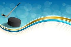 Illustrazione blu della struttura del nastro di giallo dell'oro del disco del ghiaccio dell'hockey astratto del fondo Fotografia Stock