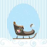 Illustrazione blu di vettore del fiocco di neve della slitta della cartolina di Natale bella vecchia Immagini Stock