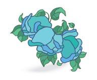 Illustrazione blu di vettore delle rose sul campo bianco illustrazione di stock