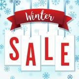 Illustrazione blu e rossa di vettore di Hang Tag Snowflakes Winter Sale Immagine Stock Libera da Diritti